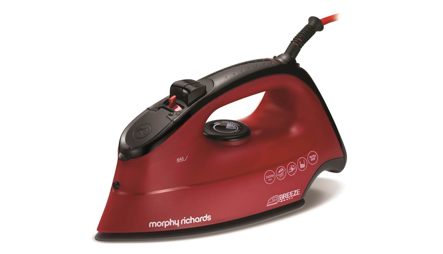 Iron Morphy richards 300259 Red, 2400 W, With cord, Continuous steam 45 g/min, Steam boost performance 120 g/min, Auto power off, Anti-drip function, Anti-scale system, Vertical steam function
