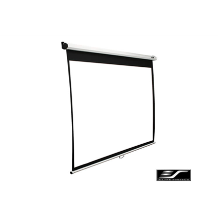 Elite Screens M100XWH-E24 Manual Pull Down Screen 100amp;#39;amp;#39; 16:9   Diagonal 254cm, W 221.5cm x H 124.7cm   White case   Dual wall amp; ceiling instalation design   4-side black masking border (Top: 7.6cm)   160 Degrees viewing angle  Auto locking sys