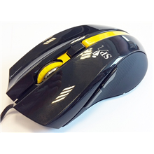 Super power Optical Gaming Mouse 52, 4 butons, black /yelow, righthand, 2400 dpi, USB