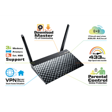 ASUS RT-AC51U 802.11ac Dual-Band Wireless-AC750 Router, Parental Control / Ports: 1 x RJ45 for 10/100 BaseT for WLAN, USB 2.0 x 1, External 5 dBi antenna x 2 + Internal PCB antenna x 1