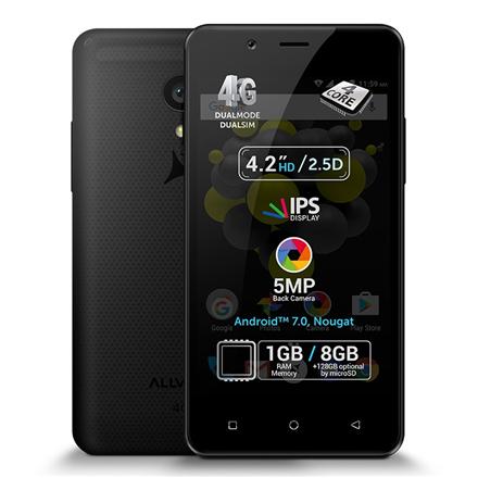Allview P4 Pro Black, 4.2 , HD IPS, 768 x 1280 pixels, Internal RAM 1 GB, 8 GB, microSD, Dual SIM, 3G, 4G, Main camera 5 MP, Second camera VGA MP, Android, 7.0, 1600 mAh, Warranty 24 month(s)
