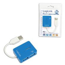 """Logilink UA0136 USB 2.0 Hub 4-port, """"Smile"""", blue"""