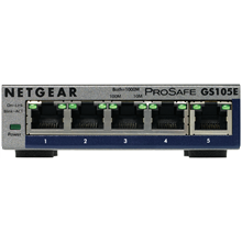 Netgear GS105E, 5x 10/100/1000 Prosafe PLUS Switch (management via PC utility), VLAN, QOS, metal