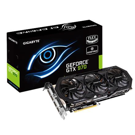 GIGABYTE GV-N970WF3-4GD   GeForce GTX 970   PCI-E 3.0   4GB GDDR5   256-bit   Core 1051 MHz   Memo 7000MHz   HDMI   Dual link DVI-I   DVI-D   DPx3   ATX