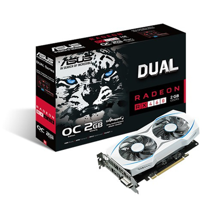 Asus Radeon RX 460 Dual AMD, 2 GB, Radeon RX 460, GDDR5, Memory clock speed 7000 MHz, PCI Express 3.0, HDMI ports quantity 1, DVI-D ports quantity 1, Processor frequency 1244 MHz