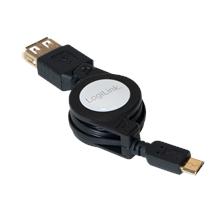 Logilink Extensible USB OTG Cable USB micro B male, USB (Type A) female, 0.75 m, Black