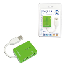 "Logilink UA0138 USB 2.0 Hub 4-port, ""Smile"", green"