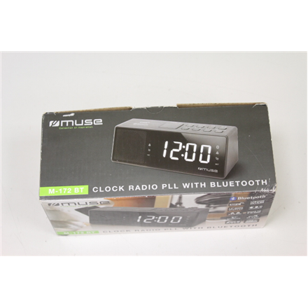 SALE OUT. Muse Radio Reveil Clock radio PLL with Bluetooth  NFC Muse M-172BT DEMO, SCRATCHED, Black, AUX in