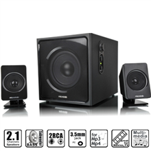 Microlab M-800 (11) 2.1 Speakers/ 40W RMS (12 Watt x 2+16 Watt)/ wired Remote Control with MP3 input & Headphone output/ Black