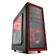 Deepcool TESSERACT SW RED, Midl tower, USB 3.0 , Big Window, black inside, w/o PSU, mATX / ATX