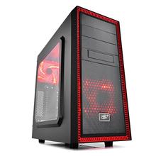 deepcool Tesseract Side window, USB 3.0 x1, USB 2.0 x1, Mic x1, Spk x1,   black/red, Midle-Tower
