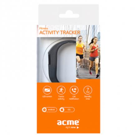 Acme ACT02 activity tracker OLED, Black, 80 mAh, Bluetooth, 1.24 cm
