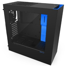 NZXT S340, black/blue,  Midl tower with Window, 2x USB 3.0;  w/o PSU, mATX / ATX