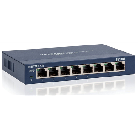 Netgear Switch FS108 Unmanaged, Desktop, 10 100 Mbps (RJ-45) ports quantity 8, Power supply type External