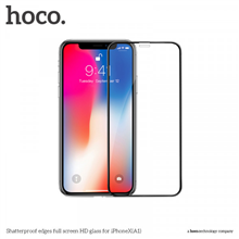 hoco. Shatterproof edges full screen ( A1 ) Screen protector, Apple, iPhone X, HD glass, Black