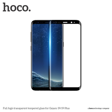 hoco. Full high transparent Screen protector, Samsung, Galaxy S9, Tempered glass, Black