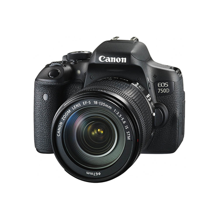 Canon EOS 750D 18-135 IS SLR Camera Kit, Megapixel 24.2 MP, ISO 25600, Display diagonal 3.0 , Wi-Fi, Video recording, TTL, Frame rate 29.97 fps, CMOS, Black