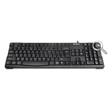 A4Tech keyboard KR-750, USB (Black) (US+RU), Rounded Edge Keycaps