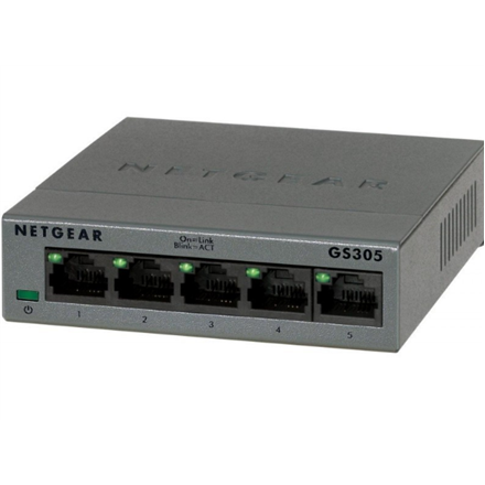 Netgear Switch GS305 Unmanaged, Desktop, 1 Gbps (RJ-45) ports quantity 5, Power supply type Single