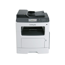 "Lexmark MX410de Multifunction Mono Laser Printer/ Print, copy, scan, fax/ 1200 x 1200 dpi/ 40 ppm/ 800 MHz/ 512 MB/ 300-Sheet Input/ Integrated Duplex/ 4,3"" Touch Screen/Ethernet 10/100/100/ USB 2.0/ White"