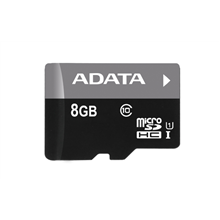 A-DATA 8GB Premier microSDHC UHS-I U1 Card (Class 10), Sequential reads are up to 50 MB/second, and write speeds reach the UHS-I speed class 1 specification, with 1 Adapter, retail