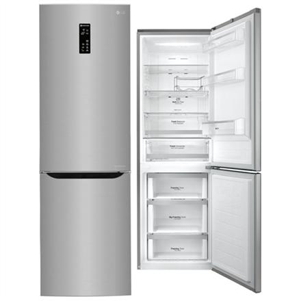 LG Refrigerator GBB59PZFZS Free standing, Combi, Height 190 cm, A++, No Frost system, Fridge net capacity 225 L, Freezer net capacity 93 L, Display, 37 dB, Inox