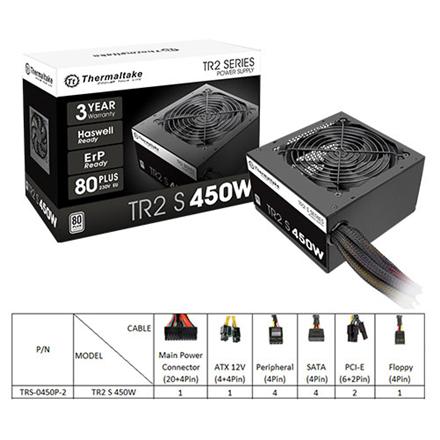Thermaltake  TR2 , up to 86%, Active PFC PSU, 120mm FAN, retail packing 450 W, Thermaltake 450 W
