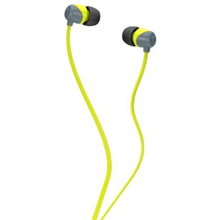 Skullcandy JIB Gray/hot Lime 11mm drivers with neodymium magnets for full-range sound / 1.3-meter cable with gold-plated 3.5mm plug/  Noise Isolation