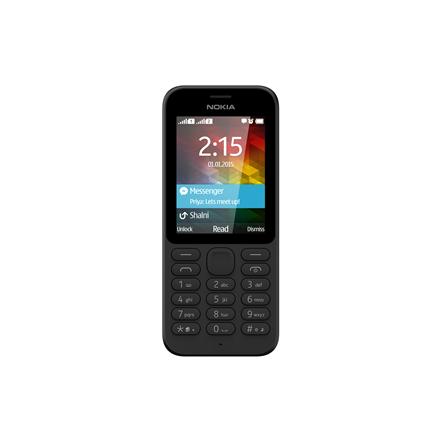 Nokia 215 (Black) Single SIM 2.4″ TFT 240×320/ 8 MB RAM/ Camera VGA, 640×480,Video 240p@15fps/ microSD, up to 32 GB/ microUSB 2.0,BT, Stereo FM/ 116 x 50 x 12.9 mm/ 78.4g