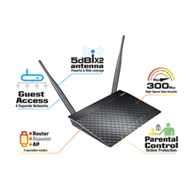 ASUS wireless N router RT-N12 D1 Router/Access Point /Range Extender, 300Mbps Two detachable 5dBi