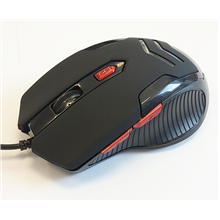 Super power Optical Gaming Mouse 16, 4 butons, whit RED LED light, black, righthand,  800-2400 dpi, USB Super power wired