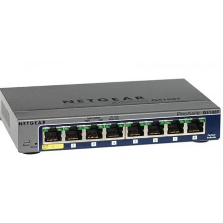 Netgear Switch GS108T Web Management, Desktop, 1 Gbps (RJ-45) ports quantity 8, Power supply type External