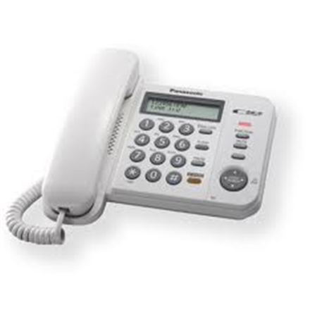 Panasonic KX-TS520FXW, Corded phone, White /   Standard phone with 3-line display, CLIP function, Phone list 50 names and number/  20 last number memory /  MUTE, FLASH, HOLD functions, Wall-mountable