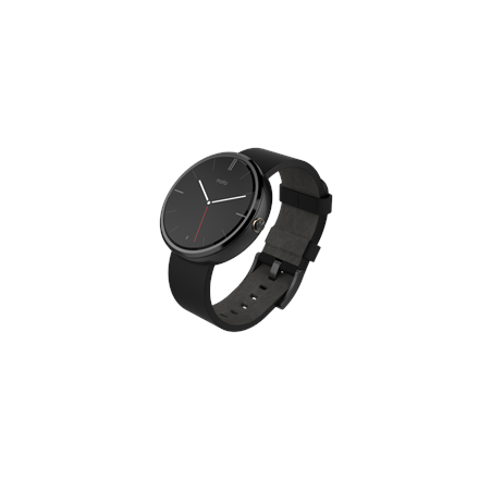 Motorola Mobility 360 Smart Watch Leather Strap - Black  Timely notifications  Voice control  Heart rate amp; heart activity  Steps amp; distance  Calories burned  Analysis amp; guidance  Wireless charging  Water resistant  Syncs with any smartphone ru