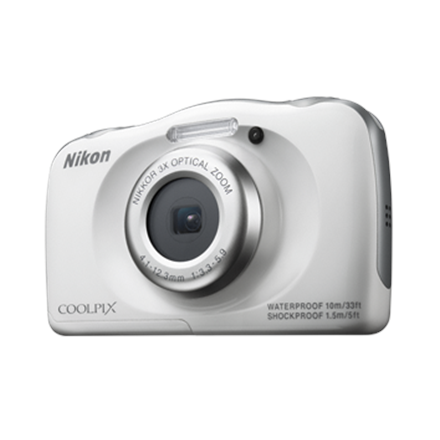 Nikon Coolpix S33 White/ 13.0Mpixels,NIKKOR 3x,2.7″ LCD,ISO 125-1600,Support SD/ SDHC/ SDXC,Li-ion batt.